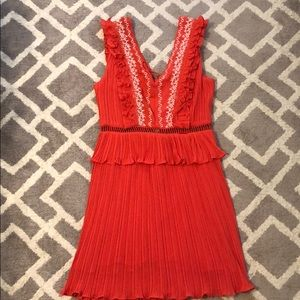 New with tags. Red embroidered v neck dress